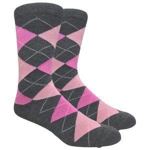 Men's Charcoal Printed Argyle Dress Socks